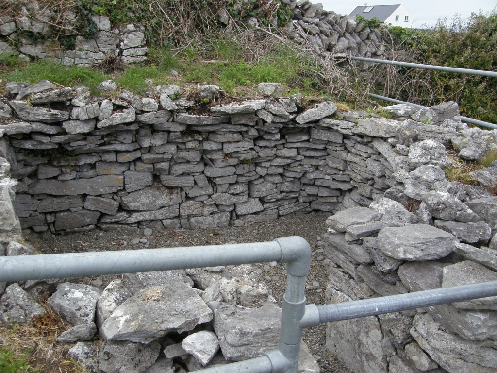 Remains of clochán or hermit's beehive hut at St. Gobnait's Church