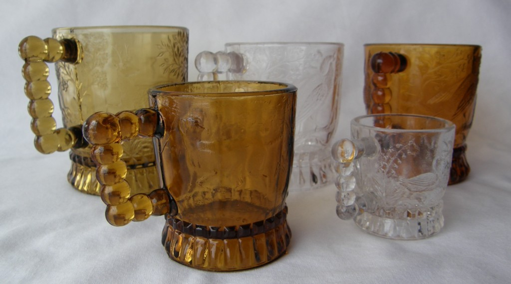Set of five mugs (in four sizes) made by the Bryce, Walker Glass Co. in th 1880s (and the U.S. Glass Co. after 1891)