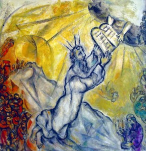 Moses Receiving the Torah from God at Mount Sinai by Marc Chagall