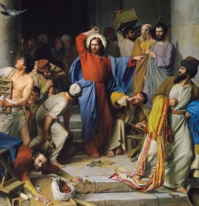 """Detail from """"Christ Cleansing the Temple"""" by Carl Heinrich Bloch, 1875"""