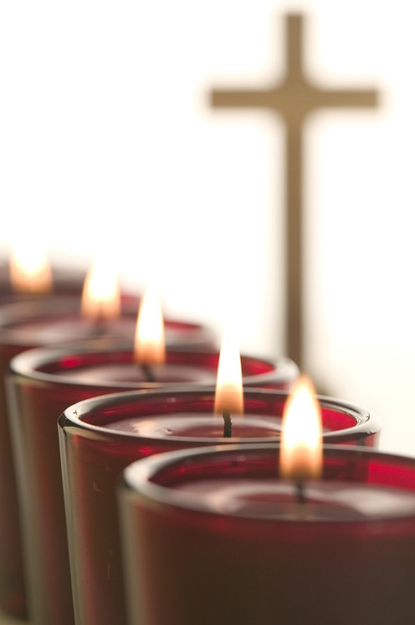 Votive Candles and Cross