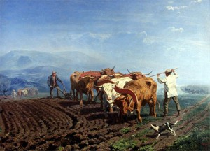 Plowing with Oxen Teams, 1866, by William Watson