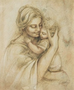 Drawing of Mother Holding Baby, Artist Unknown