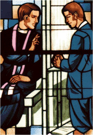 Stained Glass Window Portraying Confession