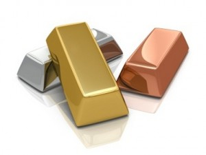Gold silver and bronze bars