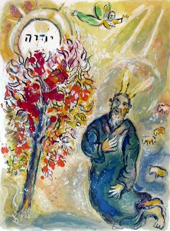 Moses and the Burning Bush by Marc Chagall
