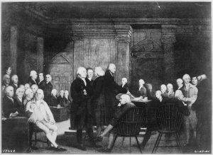 The Second Continental Congress voting for independence