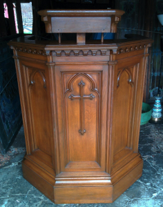 A used & discarded pulpit